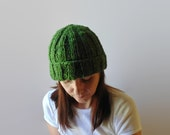 Beanie Knitted in Green Wool