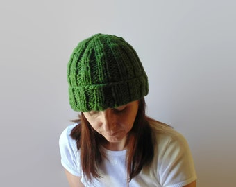Green Beanie, Wool Beanie, Chunky Knit Hat, Slouchy Hat, Womens Beanie, Knit Beanie, Mens Beanie, Hand Knit Hat, Ready to Ship, Bobble Hat