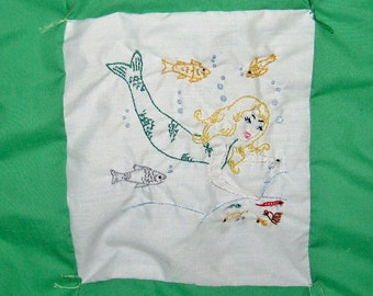 Baby Quilt Green Embroidered Mermaid Pattern