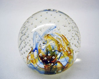 CAITHNESS Paperweight-Reflections '92-Scotland Collector's Club-Controlled Bubbles-Cobalt Blue & Bronze