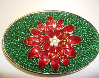 Christmas Belt Buckle - Poinsettia