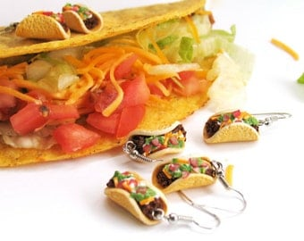 Taco Earrings, Food Jewelry, Miniature Food Jewelry, Polymer Clay Food Earrings