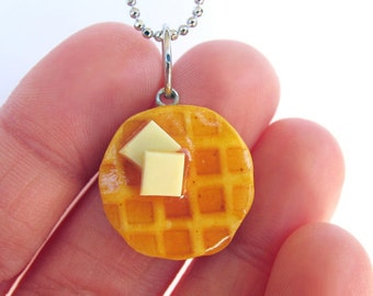 Waffle Necklace - Food Jewelry - breakfast Necklace - Miniature Food - Waffle Jewelry - Food Necklace - Breakfast Jewelry - Breakfast