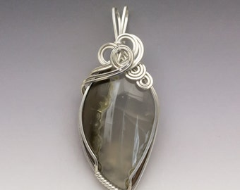 Priday Thunderegg Agate Sterling Silver Wire Wrapped Pendant - Ready to Ship!