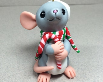 Mouse with Candy Cane and Scarf Ornament by Shelly Schwartz