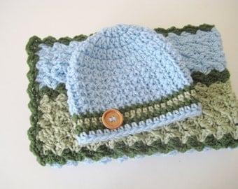 READY TO SHIP Crochet Baby Blanket Set, Baby Shower Gift, Baby Travel Blanket, Stroller-Car Seat Blanket - Blue, Sage, Green Baby Blanket