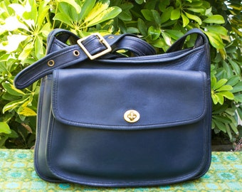Vintage Coach Navy Blue Taft Leather Messenger Satchel Hobo Tote Bag Purse Crossbody 9980
