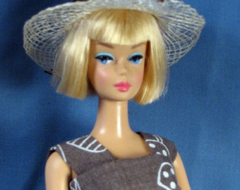 Barbie Clothes - Brown Mushroom Print Sheath, Hat, Purse and Shoes