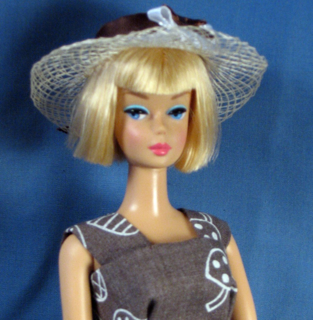 barbie clothes brown mushroom print sheath hat purse and