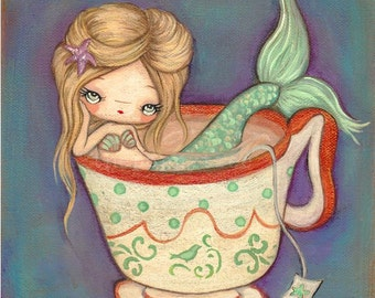 Mermaid Print Cute Nautical Girl Tea Cup Wall Art Mermaid Tea 8 x 8