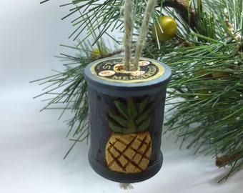Hand Carved Pineapple Ornament, Blue Primitive Sewing Spool Christmas Ornament