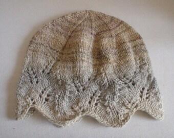 Knit Hat- Handspun White and Tan Alpaca, Wool Blend - Winter, Warm, Women, Gift