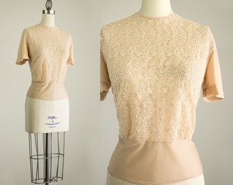 50s Vintage Ecru Beige Embroidered Lace Sheer Blouse / Size Small / Medium