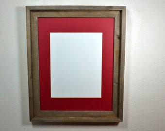 16x20 poster frame from recycled wood with mat for 11x17 or 12x18