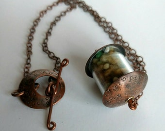 Copper & Fiber Cosmos Handmade Focal Bead Necklace with fabricated toggle clasp