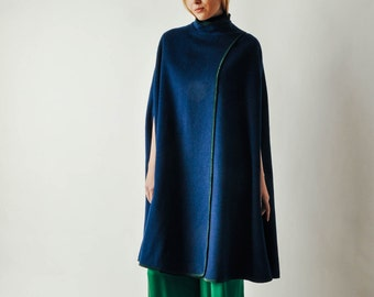 Vintage Navy Cape with Green Trim