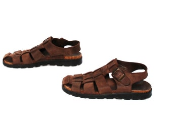 size 8 BUCKLE brown leather 80s 90s FISHERMAN slingback woven STRAPPY sandals