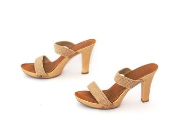 size 9 JUTE strap 80s 90s PLATFORM high heel CUTOUT studden mules