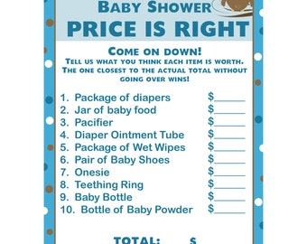 24 Personalized Baby Shower Price is Right Game Cards  - Blue Owl - Blue Owl Baby Shower Game