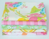"Vintage Sheet Fat Quarter Bundle - 22""x18"" cuts mix of 5 Bright Florals Pink Green Yellow Check Plaid"
