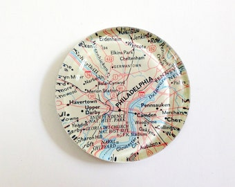 Vintage Map Paperweight - Philadelphia PA - Ready to ship