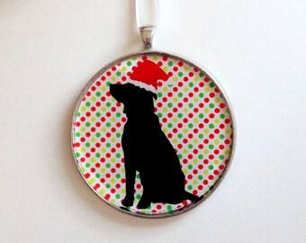 SALE - Santa Dog Ornament - Choose your background pattern