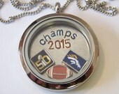 Denver Broncos Super Bowl Champs Themed Locket and Charm Necklace, includes locket and charms shown, locket available with or w/o CZ stones