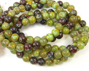 Assorted 6mm Picasso Round Glass Beads - Mix of Green Burgundy and Aqua Czech Glass Beads |LG2-12| 1x25