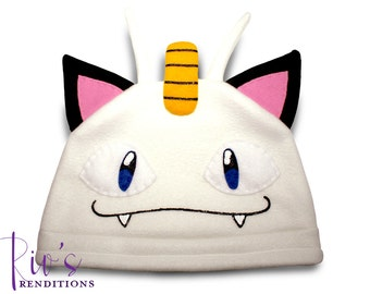 Pokemon Meowth Hat / Fleece Hat / Winter Hat / Pokemon Hat / Pokemon Fleece Hat / Video Game Characters