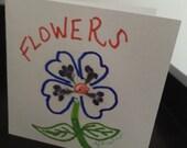 Flowers, Original pressed flower art card