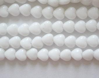 100 White Opaque Czech Glass Heart Beads 6mm