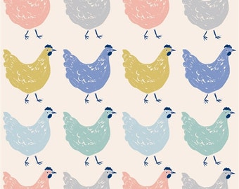 Homestead Roost Organic Cotton Fabric Chickens