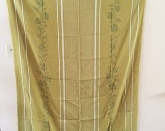 Vintage Green Tablecloth fabric with Cross Stitch Pattern  52 x 69