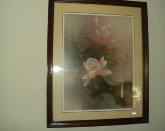 Vintage Framed Matted--Artist Signed--Beautiful --Lena Lia Artist--  Pink Lilies