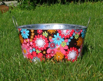 Galvanized Metal Medium Oval Storage Tub Coco Peace Flower