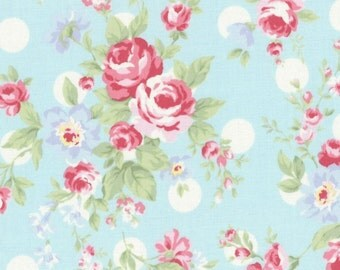 SALE Aqua Blue Polka Dot Roses 31265 70 by Lecien Fabrics Princess Rose Clearance