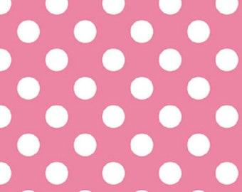 Medium Hot Pink and White Polka Dot Fabric Basic Prints by Riley Blake Designs