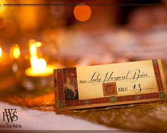 Medieval wedding table place setting cards