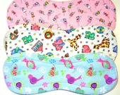 Quilted Contoured Baby Burp Cloths ~ Set of 3 ~Triple Layer ~ Flannel & Fleece ~ Baby Girl ~ Set #BC/31A