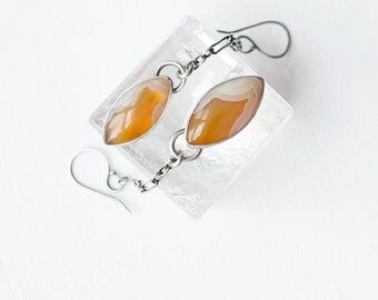 Laguna Sunshine Earrings - Agate and Silver Drop Stone and Chain Earrings