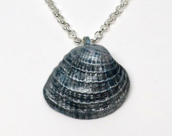 Silver Pendant Necklace, Real Seashell and Polymer Clay