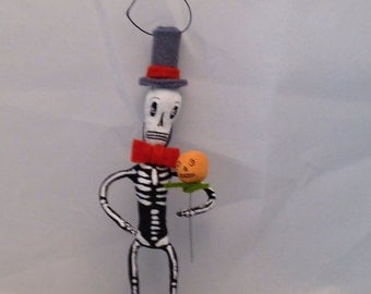 Spun cotton Halloween skeleton feather tree decoration by maria paula