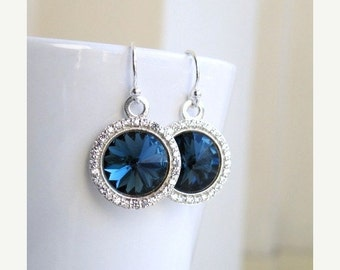 Clearance SALE Montana Navy Blue Earrings Swarovski Crystal Rivoli Sterling CZ Halo