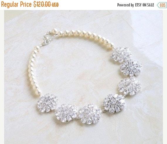 Mega SALE Bridal Necklace Ivory Swarovski Pearl Pear CZ Silver Brooch BN1