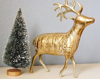 Vintage Brass Reindeer Figure Embossed Design Christmas Decor 1960s
