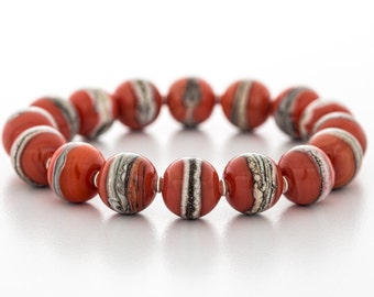 red bracelet, glass and sterling silver, stretch style, artisan lampwork jewelry