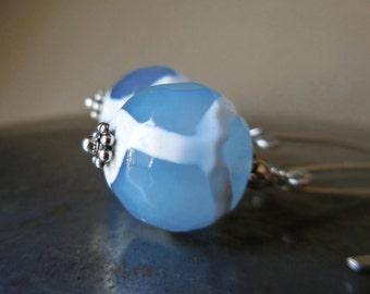 Blue agate dangle earrings, Dzi beads, Tibetan, 925 sterling silver earrings, silver and stone, tribal earrings, boho, bohemian earrings