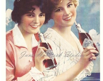 Digital Download Vintage PostCard and Calendar Images Beautiful Girls Drinking Coca Cola 0014