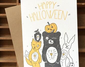 letterpress Halloween zombie card