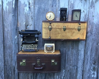 Vintage Brown and Tweed STRATOSPHERE Suitcase Upcycled or Repurposed into Wall Shelves